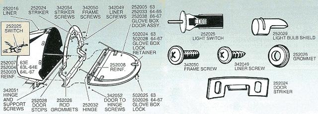 Windshield Glass Repair Kit >> Corvette Glove Box Light Switch - Socket - 1963-1967 ...