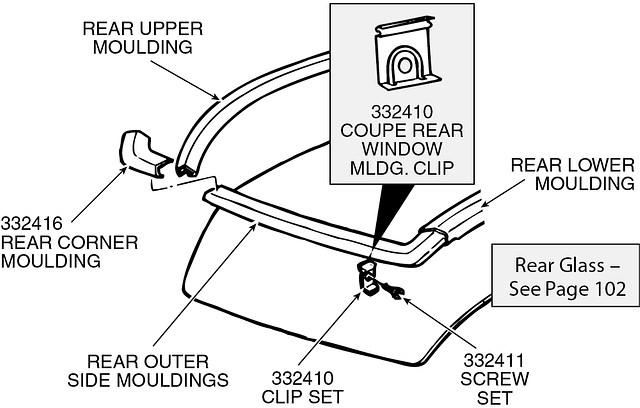 corvette rear window moulding clip set