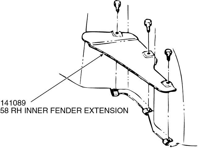 corvette right hand inner fender fiberglass extension