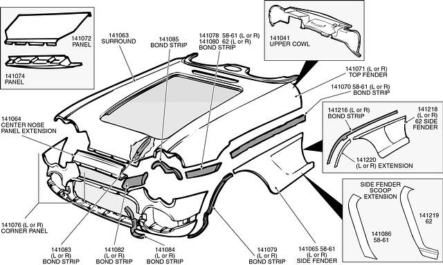 corvette fender bonding strip - right side